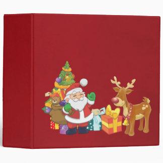 Père Noël et renne par l'arbre de Noël avec des Classeur Vinyle