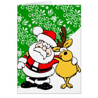 Père Noël et Rudolph sur l'arrière - plan vert Carte