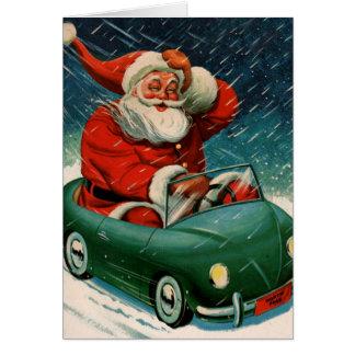 Père Noël et sa voiture électrique Carte De Vœux