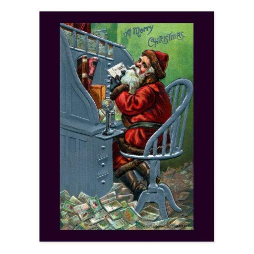 Père Noël obtient beaucoup de courrier Carte Postale