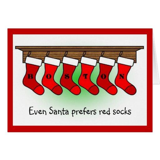Père Noël préfère les chaussettes rouges Carte De Vœux