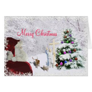 Père Noël rencontre Jésus Cartes De Vœux