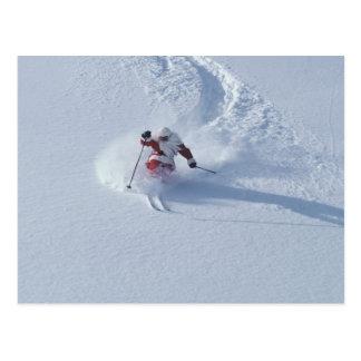 Père Noël skiant à la station de sports d'hiver de Cartes Postales