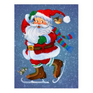 père Noël sur des patins Cartes Postales