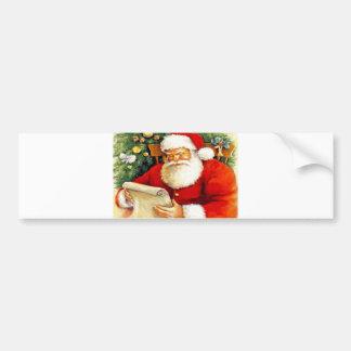 Père Noël vérifiant sa liste Autocollant De Voiture