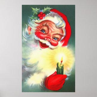 Père Noël vintage avec la bougie Poster