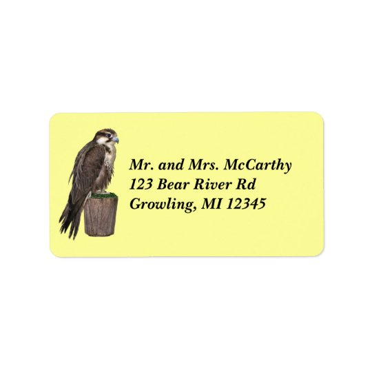 Peregrine Falcon Address Avery Label