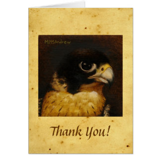 Peregrine Falcon on Parchment - Thank You Note Card