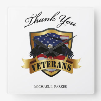 Peresonalized Thank you Veterans Square Wall Clock