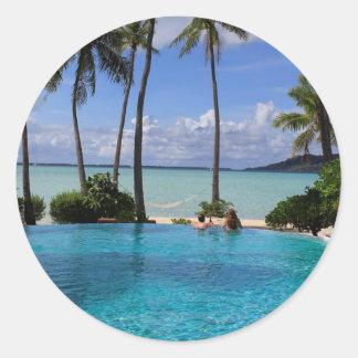 Perfct Infinity pool on Vanilla Iceland Round Sticker
