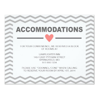 Perfect Chevron Coral and Grey Accommodations Card