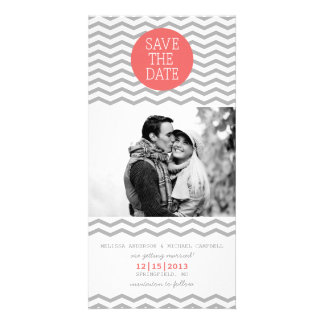 Perfect Chevron Coral & Gray Save The Date Photo Customized Photo Card