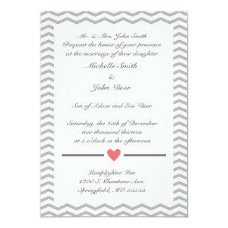 Perfect Chevron Wedding Invitation in Coral & Grey
