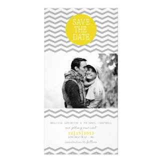 Perfect Chevron Yellow & Grey Save The Date Photo Customized Photo Card