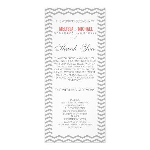 Perfect Chevron/Zig Zag Wedding Program Custom Rack Cards