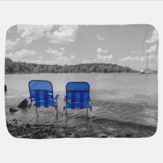 Perfect Day At The Lake Grayscale Baby Blanket
