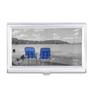 Perfect Day At The Lake Grayscale Business Card Holders