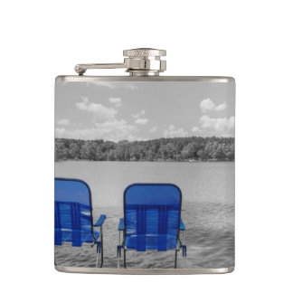 Perfect Day At The Lake Grayscale Flasks