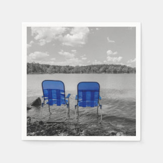 Perfect Day At The Lake Grayscale Paper Napkin