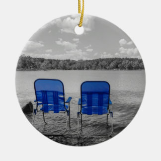Perfect Day At The Lake Grayscale Round Ceramic Ornament