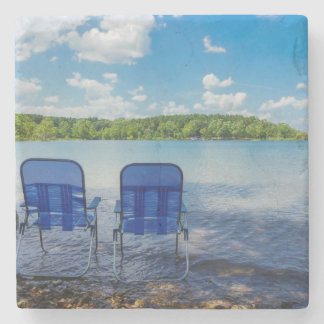 Perfect Day At The Lake Stone Beverage Coaster