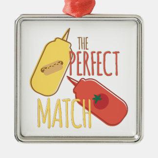 Perfect Match Silver-Colored Square Ornament