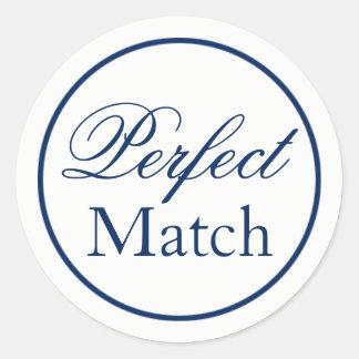 """""""Perfect Match"""" Wedding Favor Sticker - Navy"""