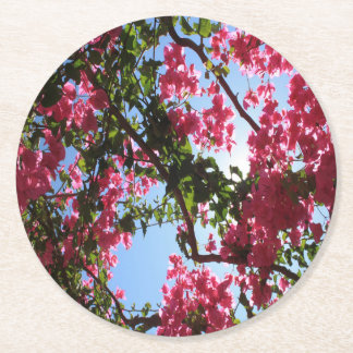 Perfect Pink Bougainvillea In Blossom Round Paper Coaster
