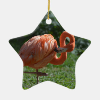 Perfect Pink Flamingo Ceramic Ornament