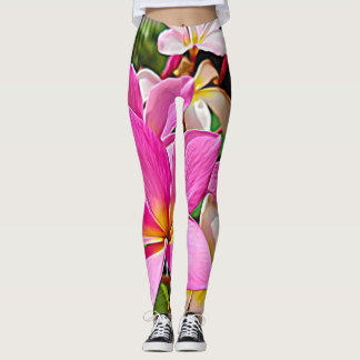 Perfect Pink Plumeria Flower Yoga Leggings