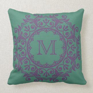 Perfect Plum on Deep Teal Scroll Wreath Monogram Throw Pillow