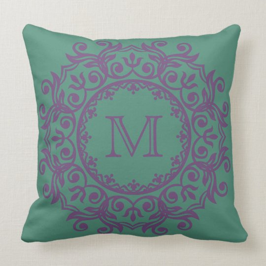 Perfect Plum on Deep Teal Scroll Wreath Monogram Throw Pillow