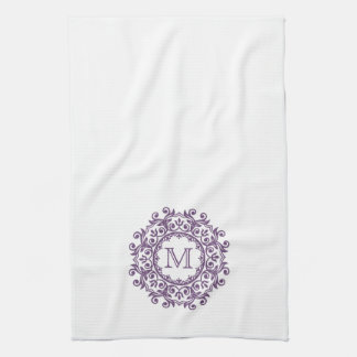 Perfect Plum Scroll Wreath Monogram on White Kitchen Towel