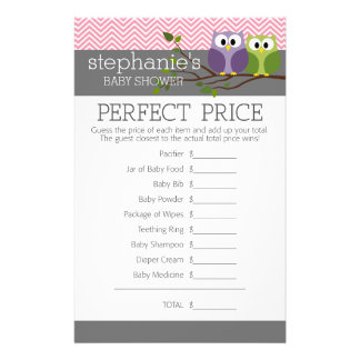 Perfect Price - Shower Games Pink Cute Owls Girl Flyers