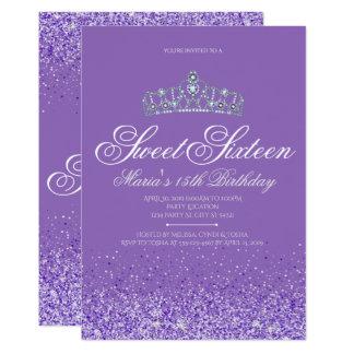 Perfect Purple Glitter, Sweet 16 Invitations
