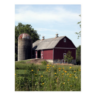 Perfect Red Barn and Silo Postcard