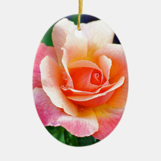 Perfect Rose in Bloom Ceramic Oval Ornament
