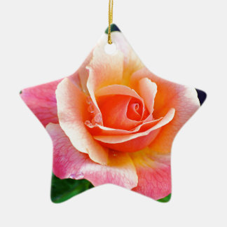 Perfect Rose in Bloom Ceramic Star Ornament