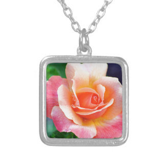 Perfect Rose in Bloom Silver Plated Necklace