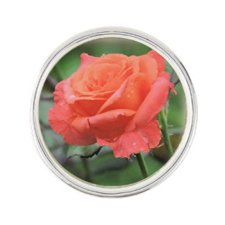 Perfect Rose in the Rain Photograph Lapel Pin