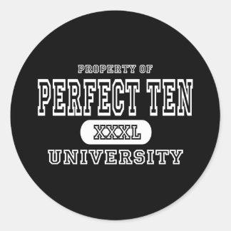 Perfect Ten Univeristy Dark Classic Round Sticker