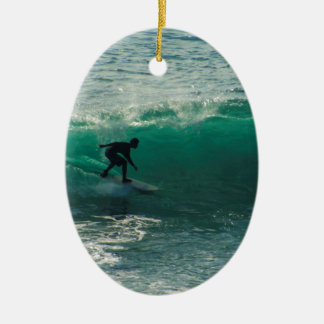 perfect wave ceramic oval ornament
