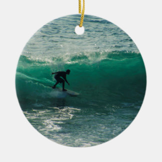 perfect wave round ceramic ornament