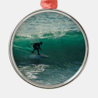 perfect wave Silver-Colored round ornament