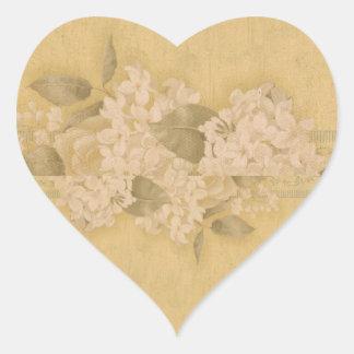 Perfect White Hydrangeas Vintage Envelope Seal Heart Sticker