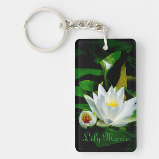 Perfect White Water Lily and Bud Double-Sided Rectangular Acrylic Keychain