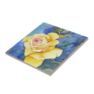 Perfect Yellow Rose in Watercolor Tile