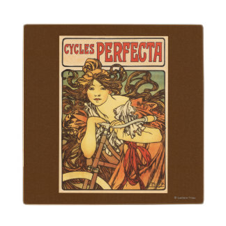 Perfecta Bicycles with Woman Advertisement Poste Wood Coaster