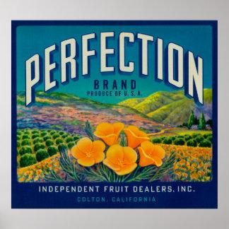 Perfection Orange LabelColton, CA Poster