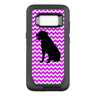 Perfectly Pink Chevron With Lab Silhouette OtterBox Defender Samsung Galaxy S8 Case